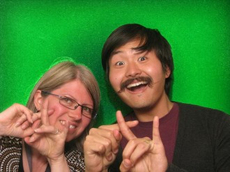 brian rose, head of google photos and i in a photo booth