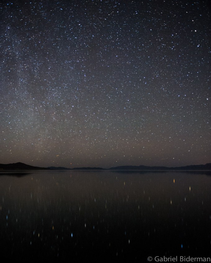 night photograph of stars over Pyramid Lake