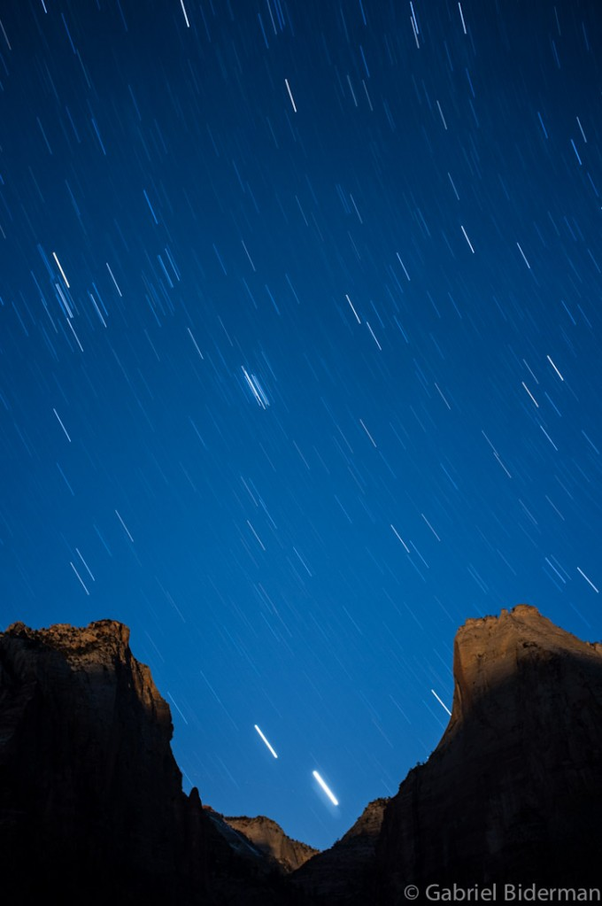 Night Photography of Zion Trail with star trails