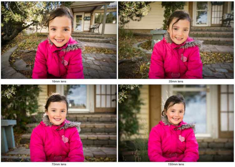4 photos comparing camera lenses from 16mm wide angle through 150mm telephoto lens