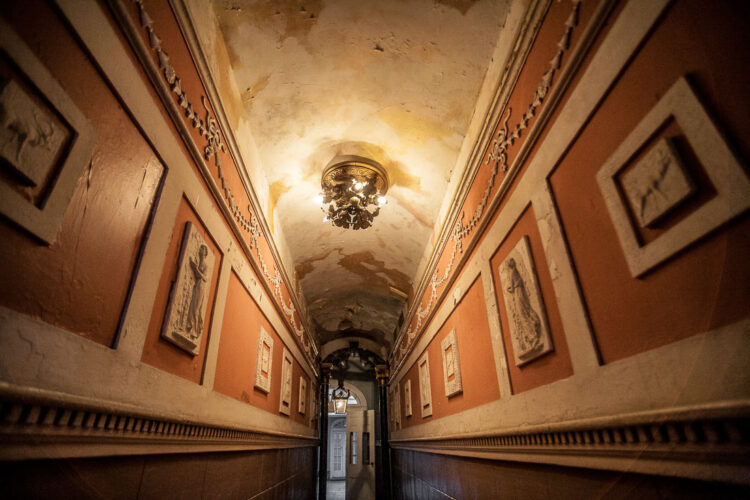 long leading lines in a hallway created with a wide angle lens of 17mm