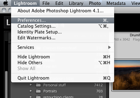 how to find lightroom preferences