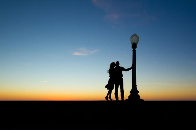 Couple Kissing in Silhouette