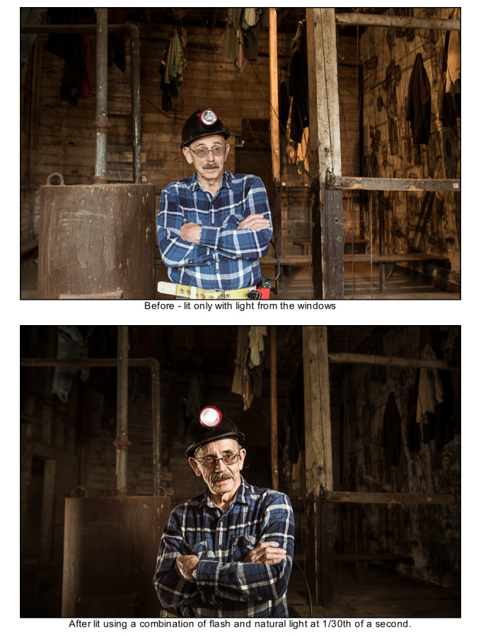 Before and after example photos showing natural ambient light vs a photo with off-camera flash used