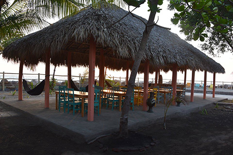 thatched roof eating area