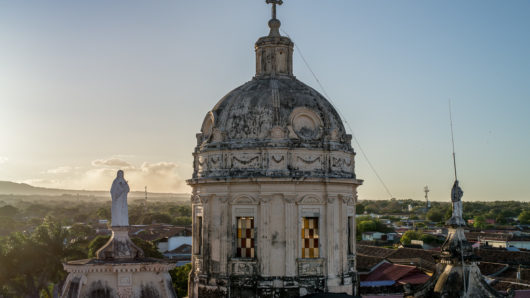 Cathedral in Granada Nicaragua at sunset