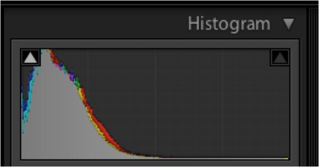 camera histogram showing black