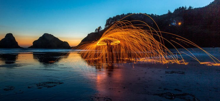 night photography fire spinning