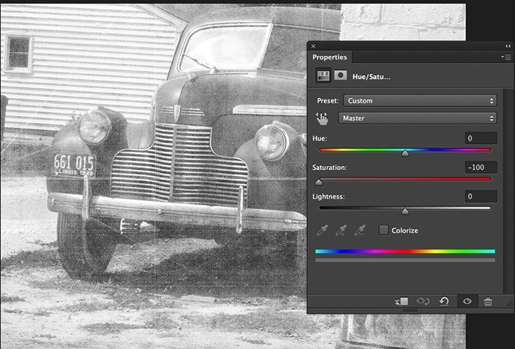 use the photoshop adjustment layer to reduce hue/saturation