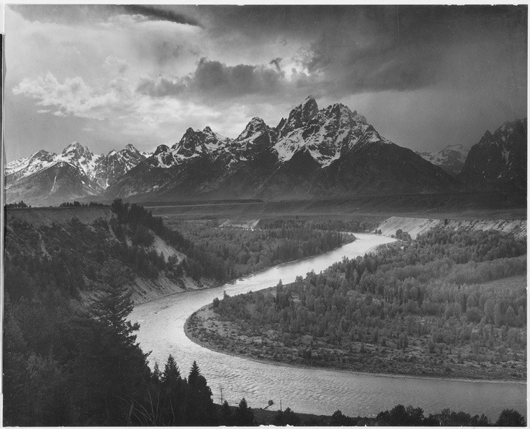 """The Tetons - Snake River,"" Grand Teton National Park, Wyoming. - Ansel Adams"