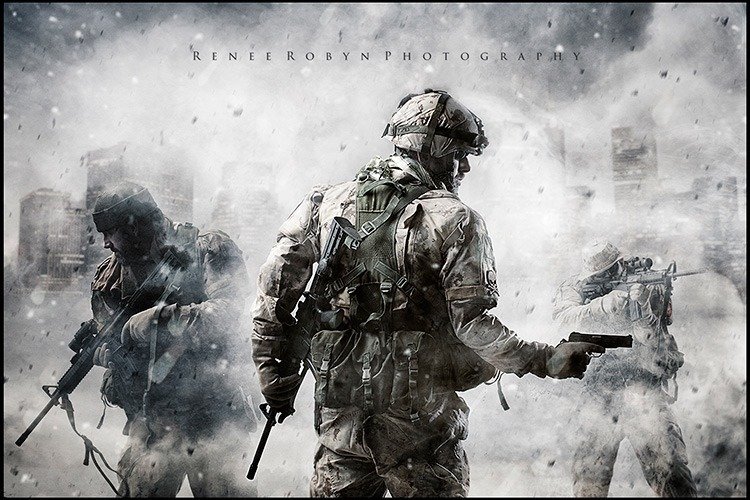 fully equipped soldiers appear to be on watch in this Call of Duty fan art