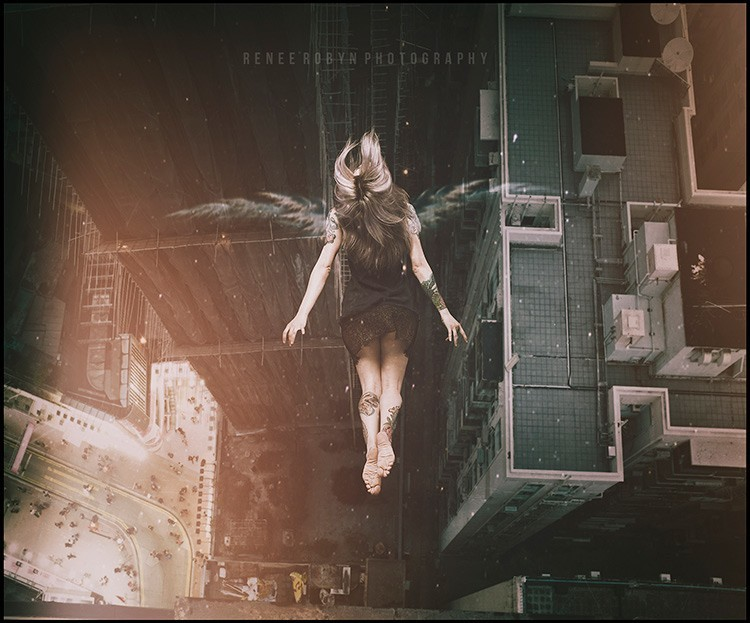girl appears to be floating over a cityscape in this digital fantasy art