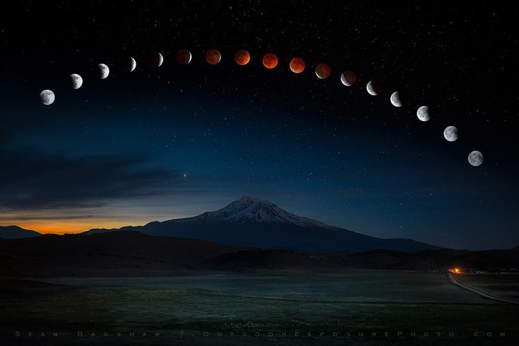 a time lapse photo of the eclipse of the moon over Mt Shasta