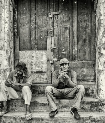 Men on the stoop