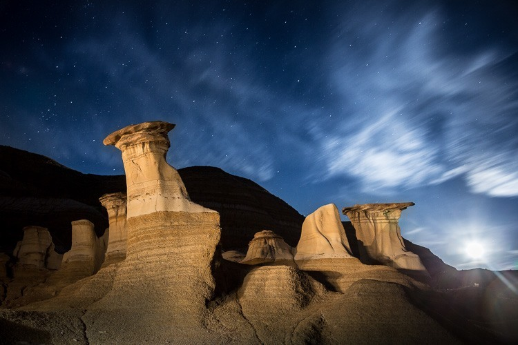 Night photography idea for light painting of some natural features