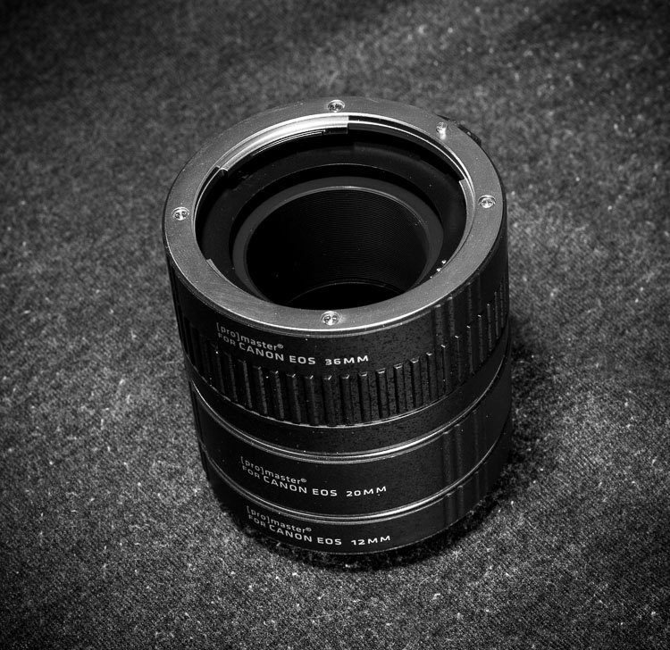 Macro photography extension tubes