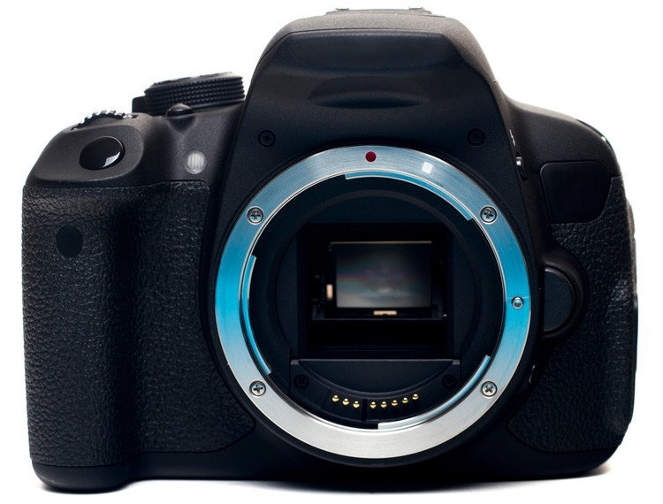 full frame camera body without the lens, showing the sensor