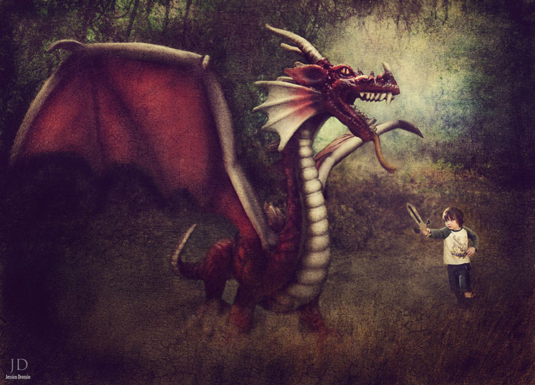 composite photo of my kid fighting an imaginary dragon