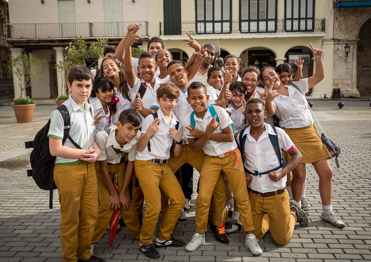 Street photograph of a group of school kids in Havana, Cuba