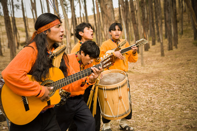 Peruvian band in forest near Cusco Peru