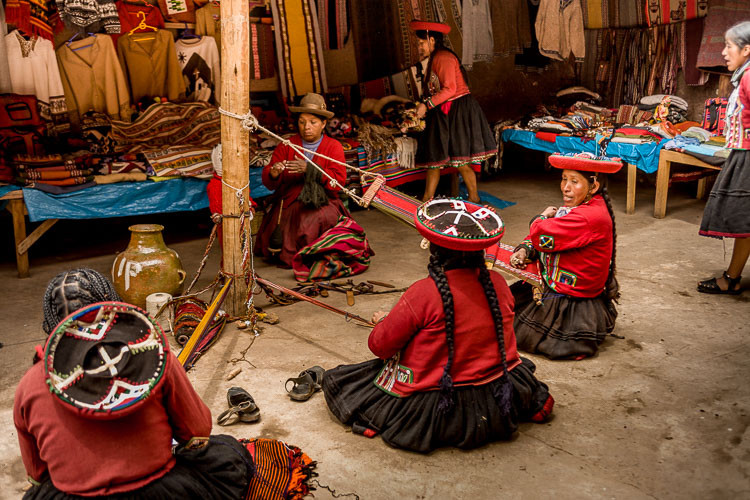 Peruvian weavers in Chinchero Peru