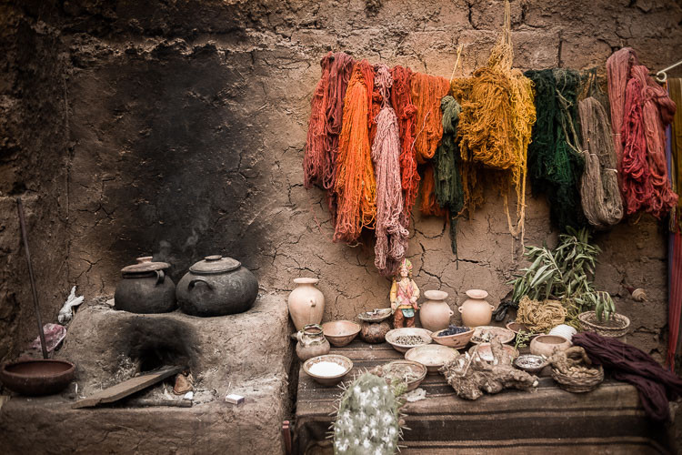 Naturally dyed wools in Chinchero Peru