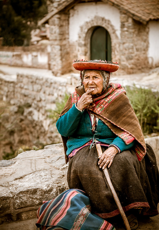 Old Peruvian lady in Chinchero Peru