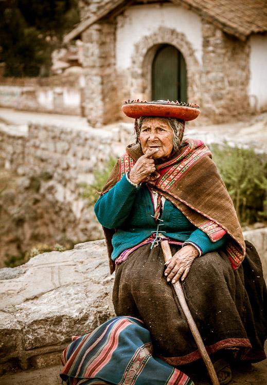 Old Peruvian lady in Chinchero Peru