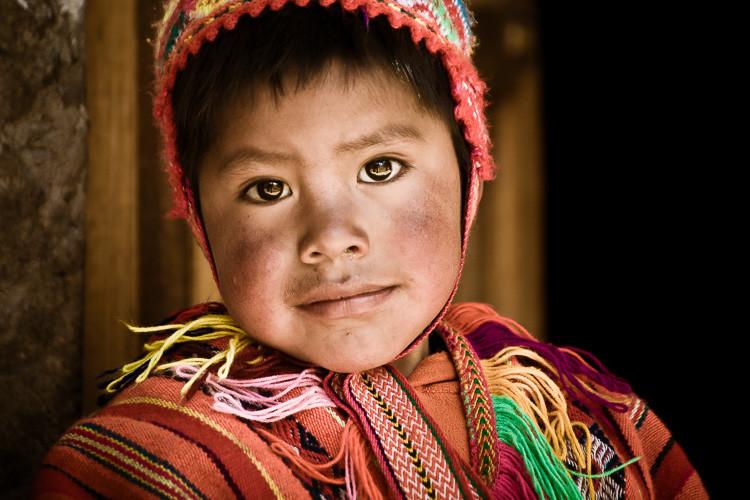 Peruvian boy in Ollantaytambo Peru