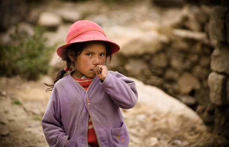 Peruvian girl in mountain village, Peru.