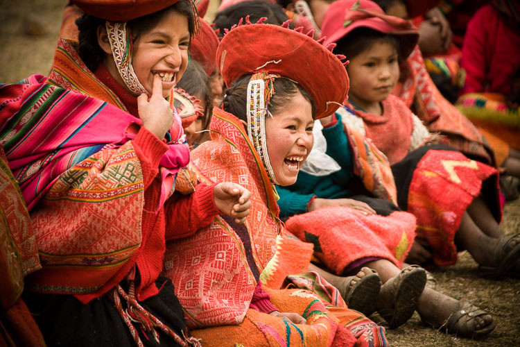 Children traditional attire in remote mountain village, Peru.
