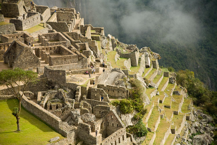 The steps and ruins of Machu Picchu, Peru.