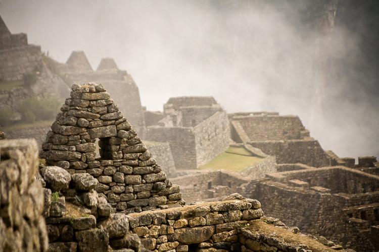 Layers in the fog at Machu Picchu, Peru.