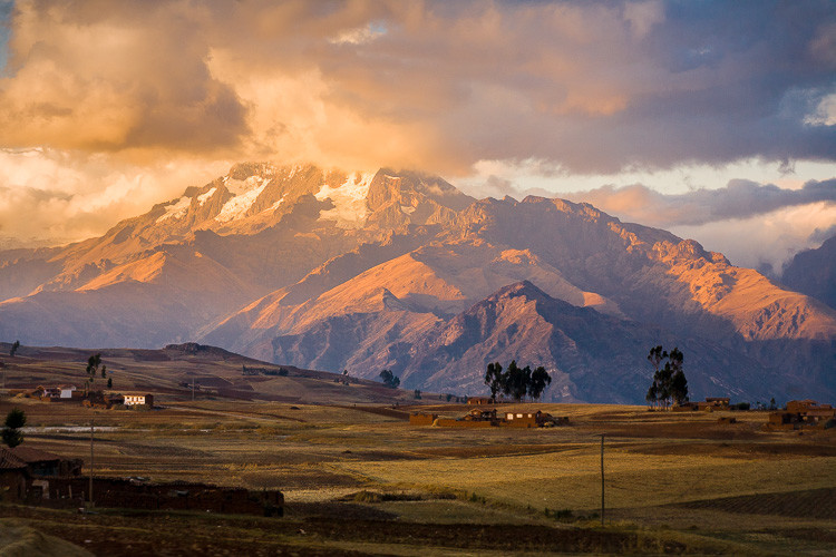 Golden sunset light on the Andes mounatins in Peru.