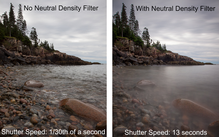 Example of the same shots taken with and without a neutral density filter - taken in Acadia National Park