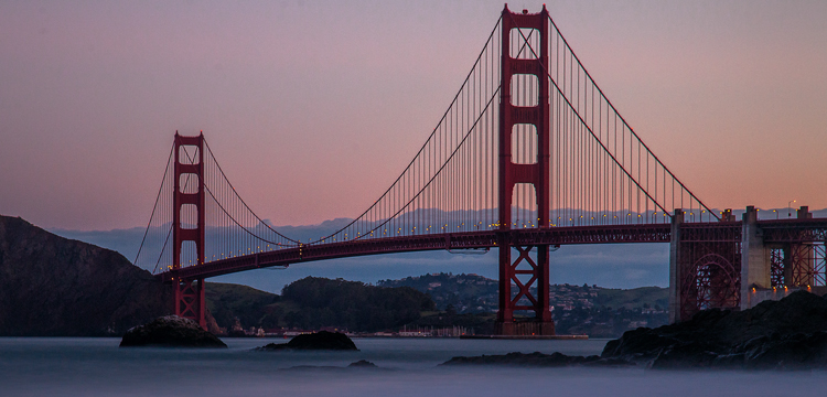 Shot of the Golden Gate Bridge from Baker Beach using a Neutral Density filter