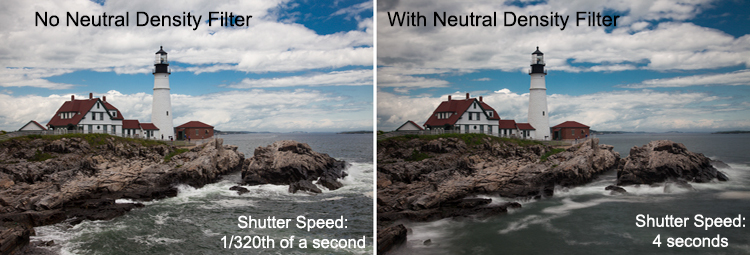 Example of the same shots taken with and without a neutral density filter - taken at the Portland Head Light in Maine