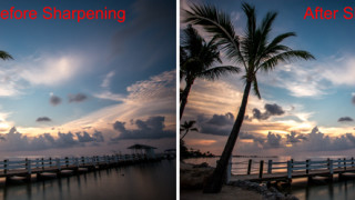 Before and after sharpening picture of a coastline