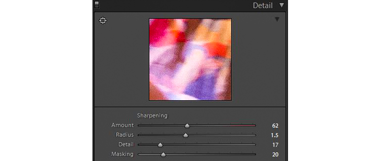 Detail Panel shows the effects of Sharpening in Lightroom