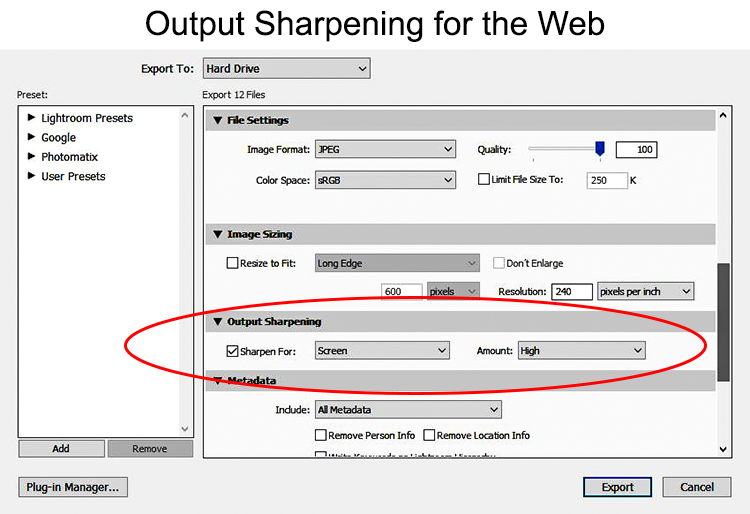 Output Sharpening - exporting from Lightroom