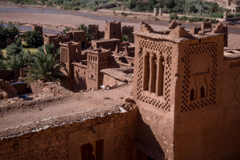stone wall defenses of the hotel in Ait Ben Haddou