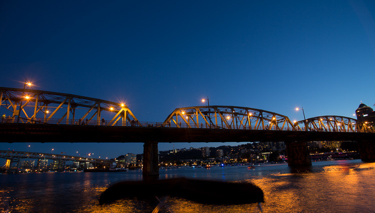 Test shot for anticipated location of the fireworks display with compostion including a bridge and city behind