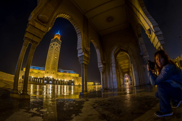 hassan ii mosque in Casablanca at night in hdr