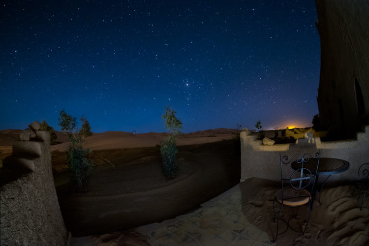 The night sky over the desert as taken from our hotel room balcony