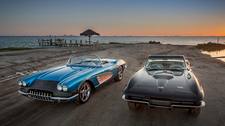 Classic Corvettes on the beach in Texas