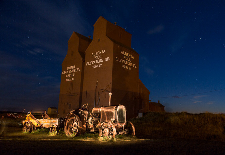 Vintage farm vehicle light painted at night