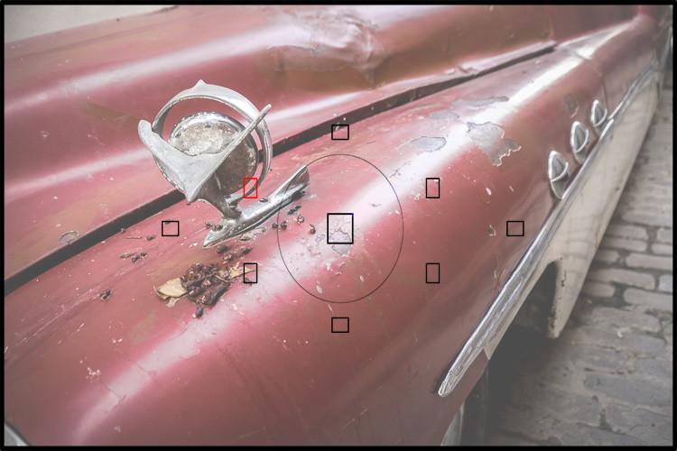 sobreposição de visor mostrando como o foco de ponto único ficaria para o fotógrafo na câmera