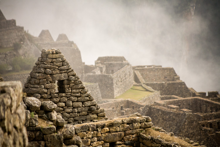 Layers in the fog at Machu Picchu, Peru.