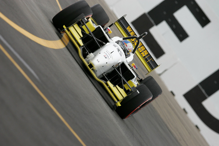 Indy car photographed from a unique angle