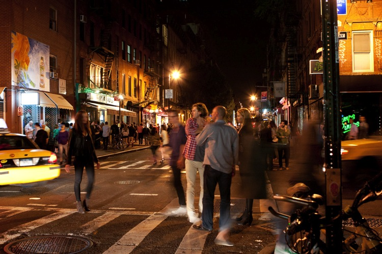 Street scene of the Lower East side at night